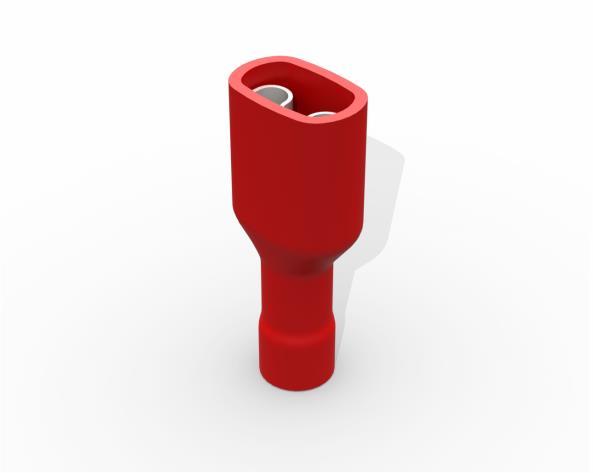 Terminal luva fêmea isolado 0,5 1,5mm 10A, cor vermelho, pacote 50 unidades