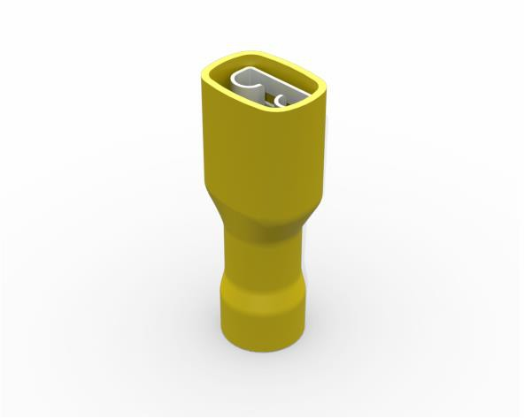 Terminal luva fêmea isolado 4,0-6,0mm 24A, cor amarelo, (pacote 50un.)