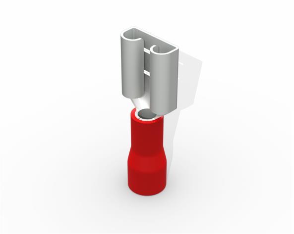 Terminal luva fêmea pré isolado  0,5-1,5mm 10A, cor vermelho, pacote 50 unidades