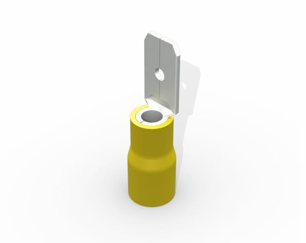 Terminal luva macho pré isolado  4,0-6,0mm 24A, cor amarelo, (pacote 50un.)