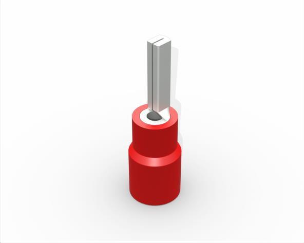 Terminal pino pré isolado 20,0mm 0,5-1,5mm 19A, cor vermelho, (pacote 50un.)