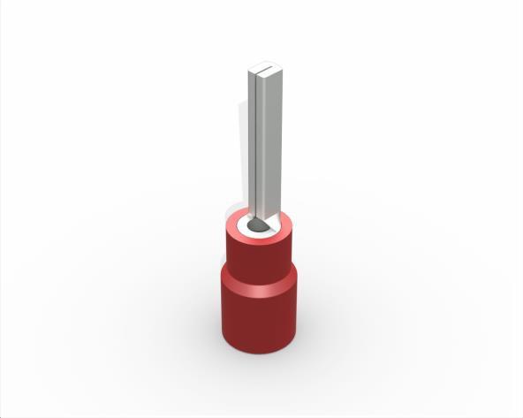 Terminal pino pré isolado 23,0mm 0,5-1,5mm 19A, cor vermelho, (pacote 50un.)