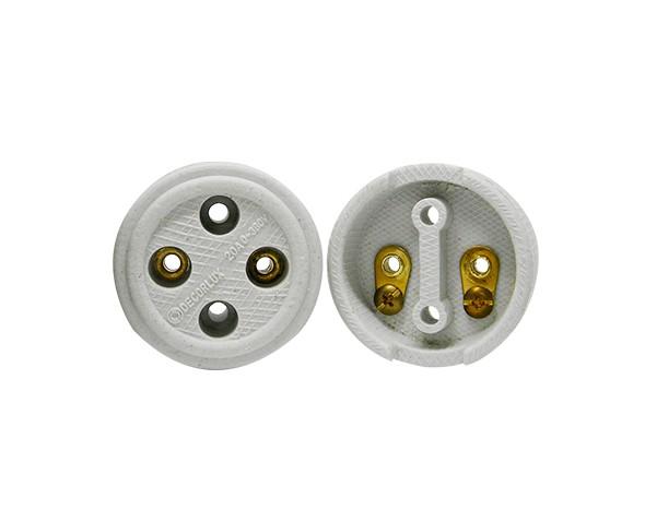 Tomada externa polarizada, porcelana, 20A, 0-380V 2 pólos, caixa com (10un.)