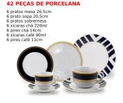 Aparelho de Jantar Porcelana Navy 42 Peças Class Home