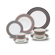 Aparelho De Jantar Porcelana Preto e Vermelho 42 Peças Class Home