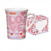 Caneca de Porcelana Fina Love 330ml Class Home