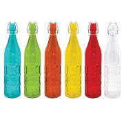 Garrafa Água 1L Colors Vidro c/Detalhes
