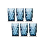 Jogo de Copos Diamante Azul 330ML vidro Class Home