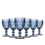 Jogo de Taça Água Diamante Azul 260ML Class Home