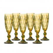 Jogo Taças Champagne Diamante Amber 140ml Class Home