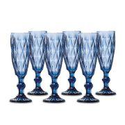 Jogo Taças Champagne Diamante Azul 140ml Class Home