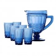 Kit Jarra 1L + 6 Copos Elegance Azul Class Home