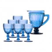 Kit Jarra 1L + 6 Taças Elegance Azul Class Home