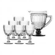 Kit Jarra 1L + 6 Taças Elegance Clear Class Home