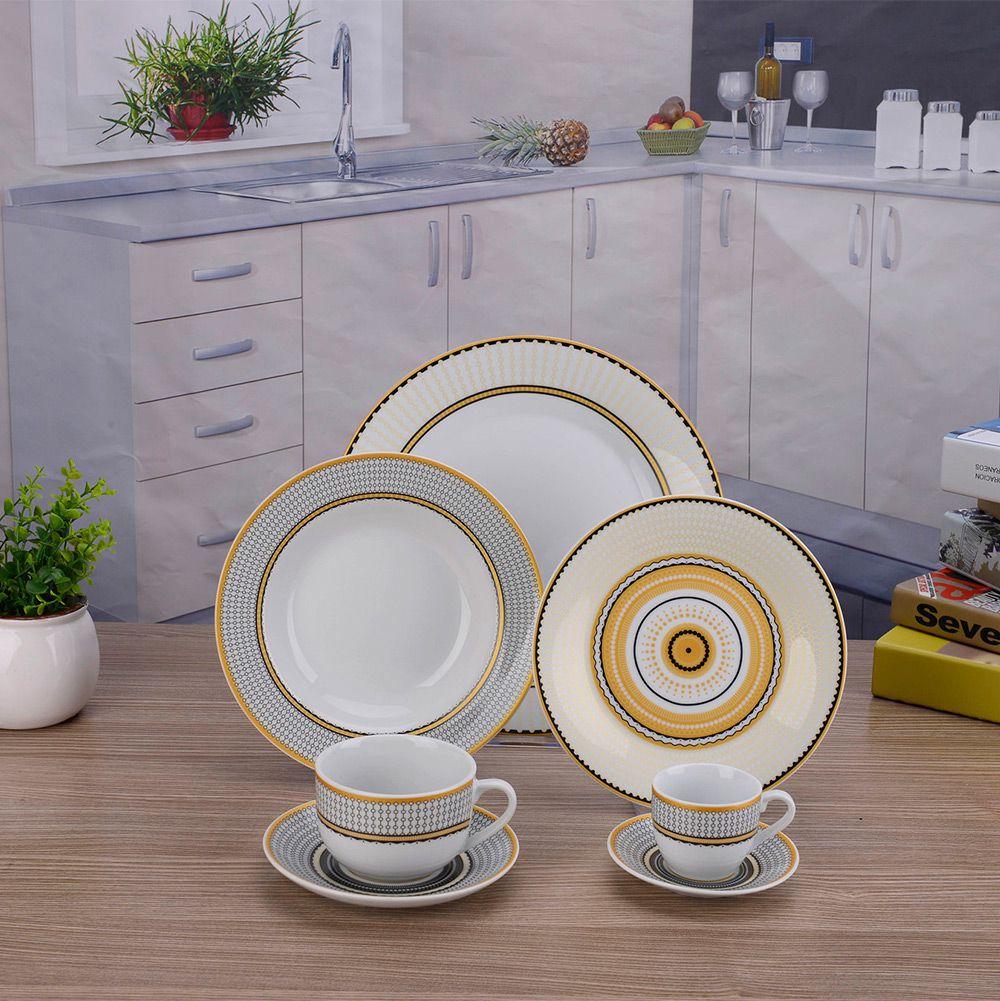 Aparelho De Jantar Porcelana Amarelo e Preto 42 Peças Class Home