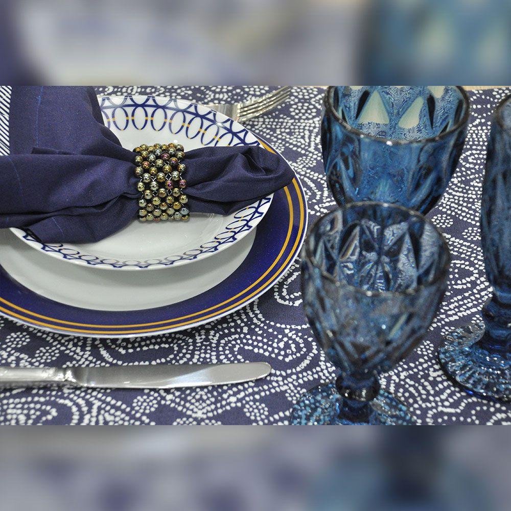 Aparelho De Jantar Porcelana Azul e Amarelo 42 Peças Class Home