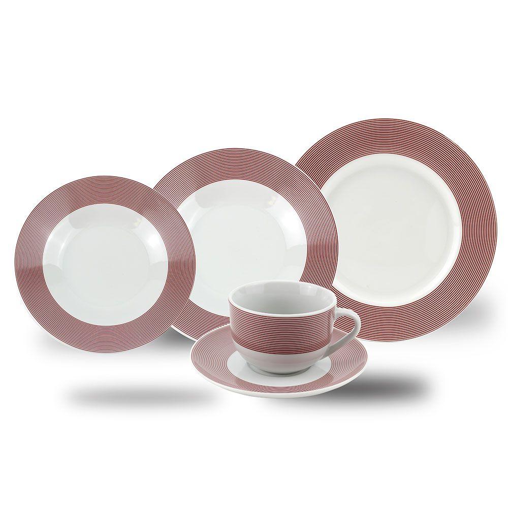 Aparelho de Jantar Porcelana Filete 20 Peças Class Home