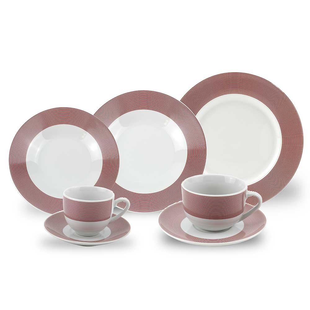 Aparelho de Jantar Porcelana Filete 42 Peças Class Home