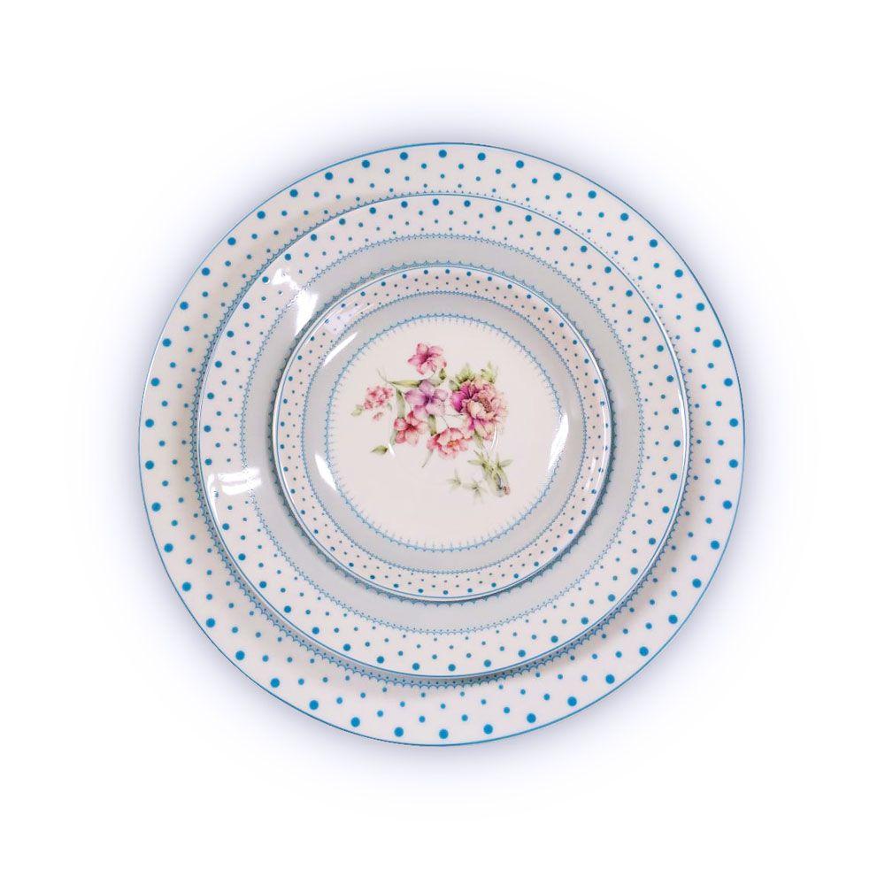 Aparelho de Jantar Porcelana Flor Azul 20 Peças Class Home
