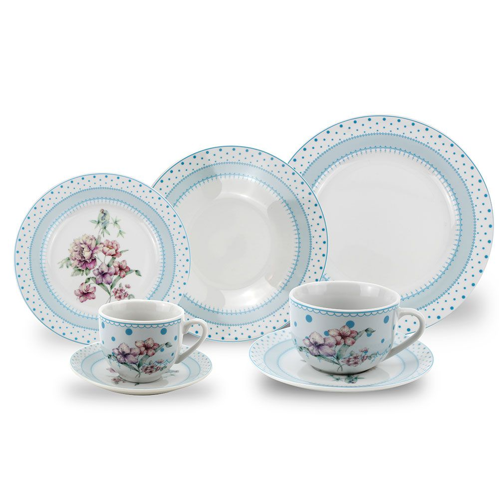 Aparelho de Jantar Porcelana Flor Azul 42 Peças Class Home