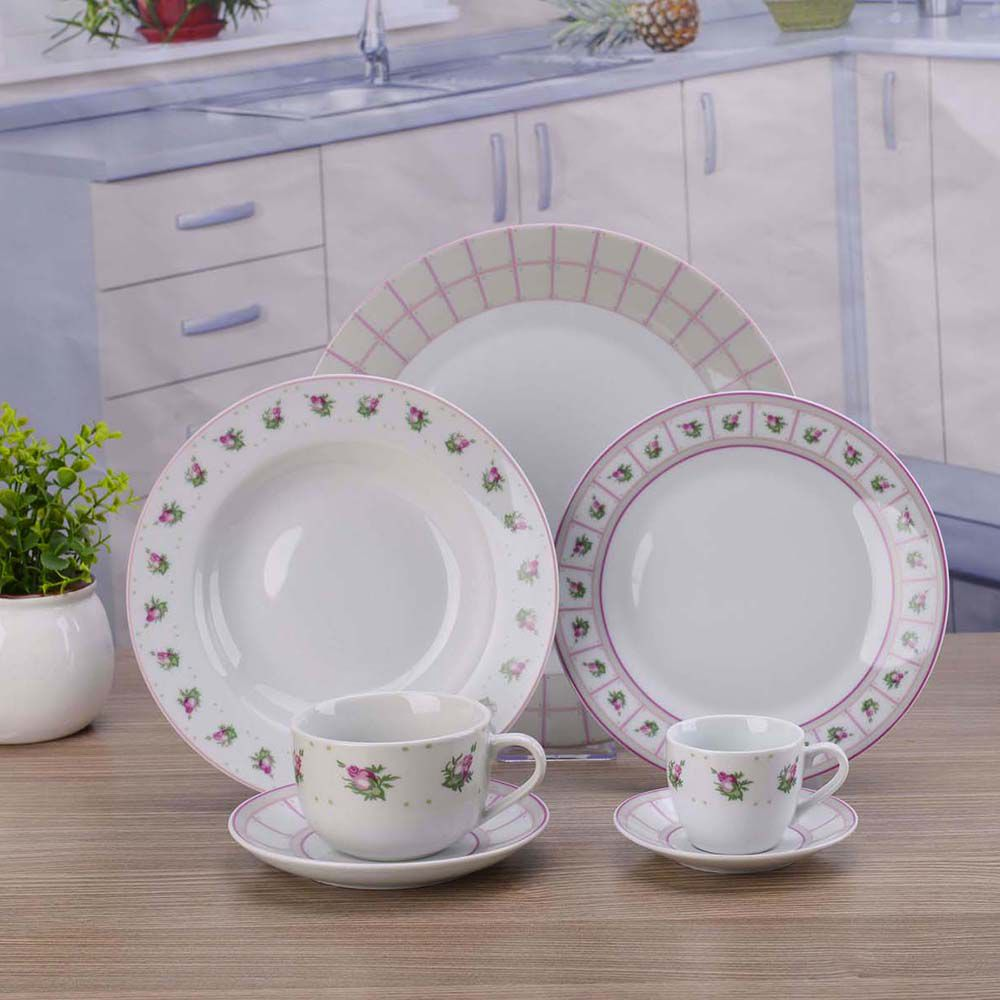 Aparelho De Jantar Porcelana Flores 42 Peças Class Home