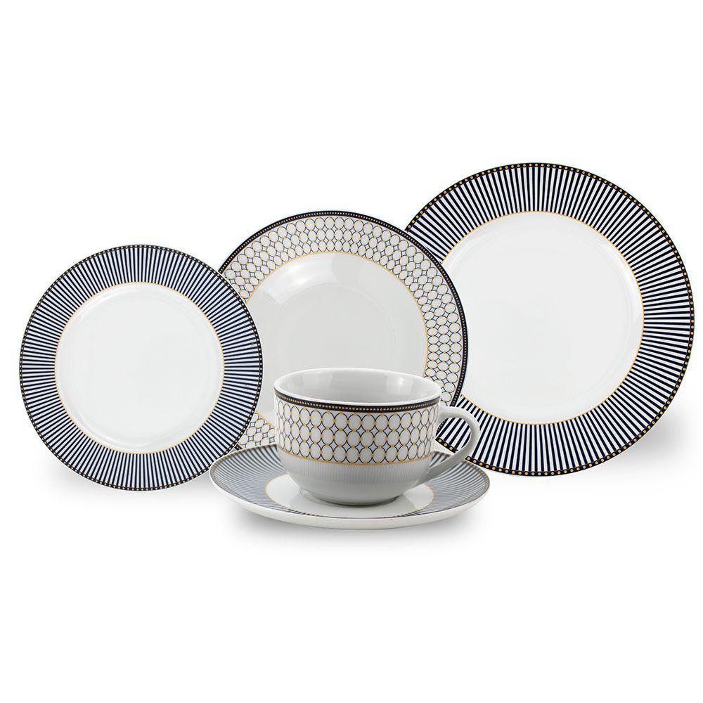 Aparelho de Jantar Porcelana Geométrico 30 peças Class Home