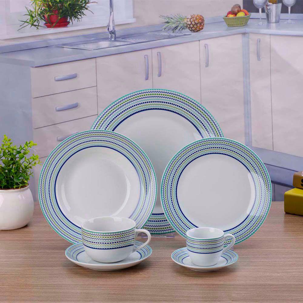 Aparelho De Jantar  Porcelana Verde e Azul 42 Peças Class Home
