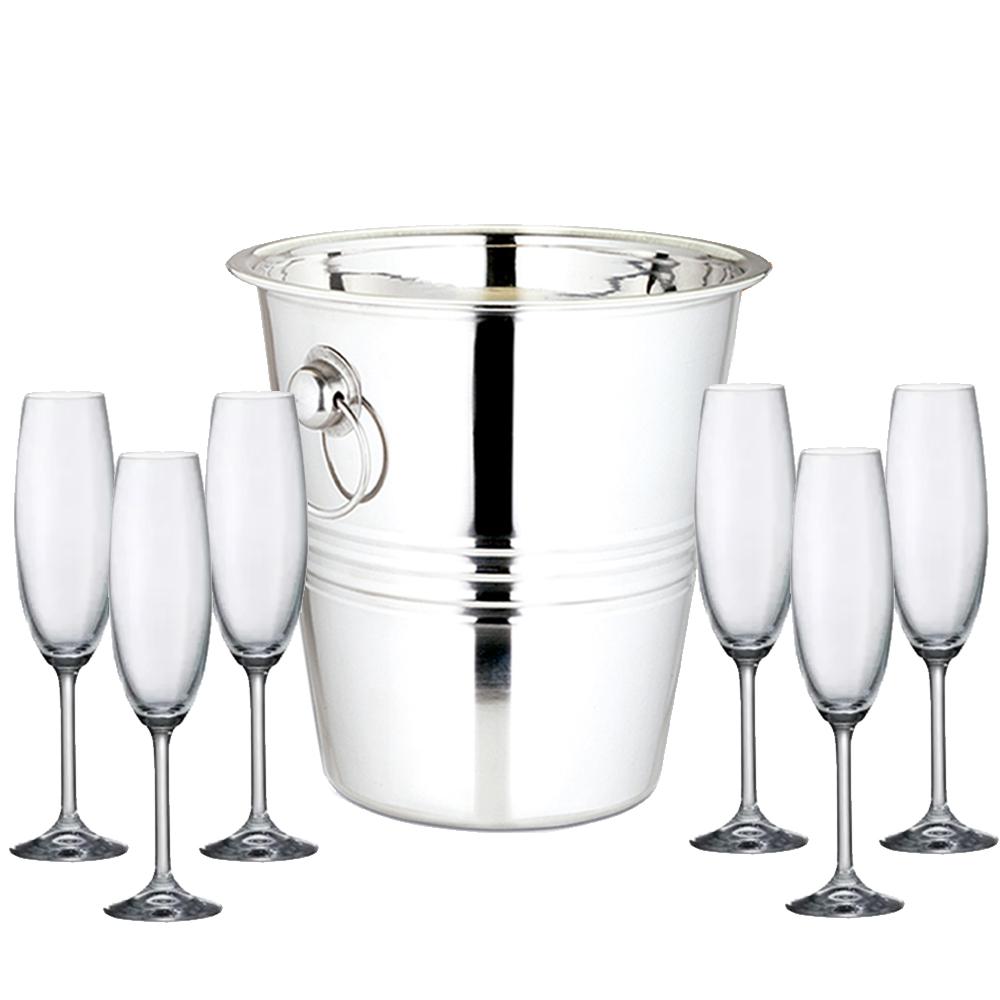 Balde Champagne + Taças Bohemia 220ml Kit 7 pçs