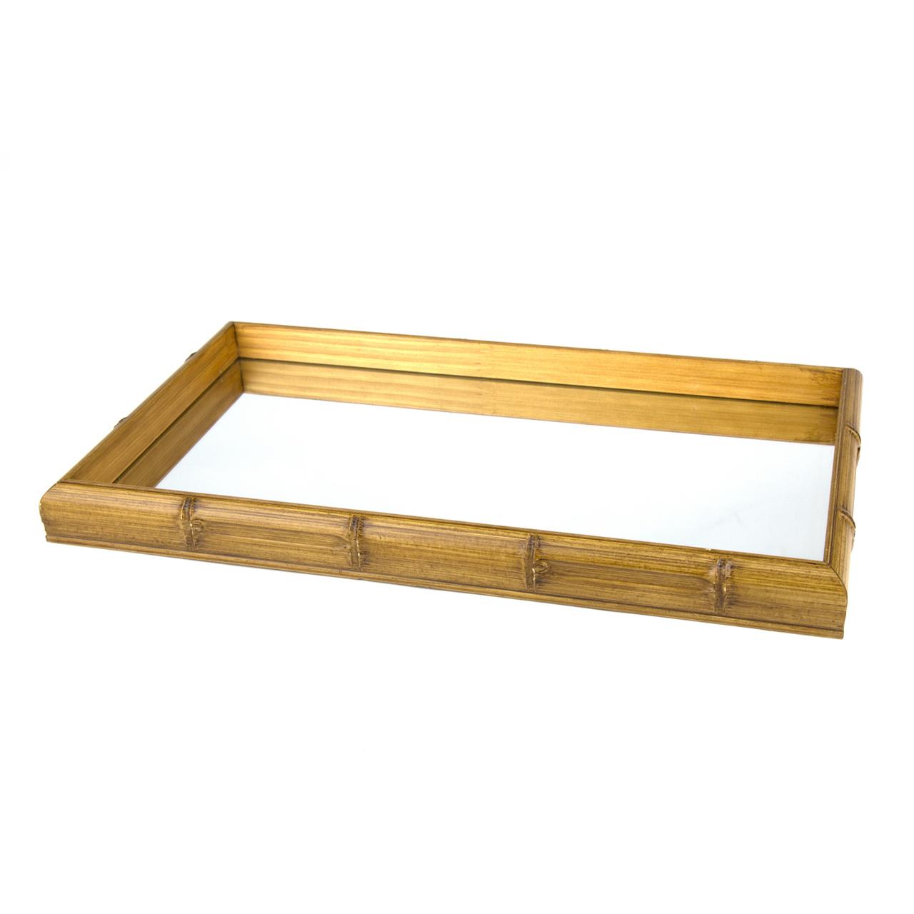 Bandeja bambu c/ espelho 46 cm