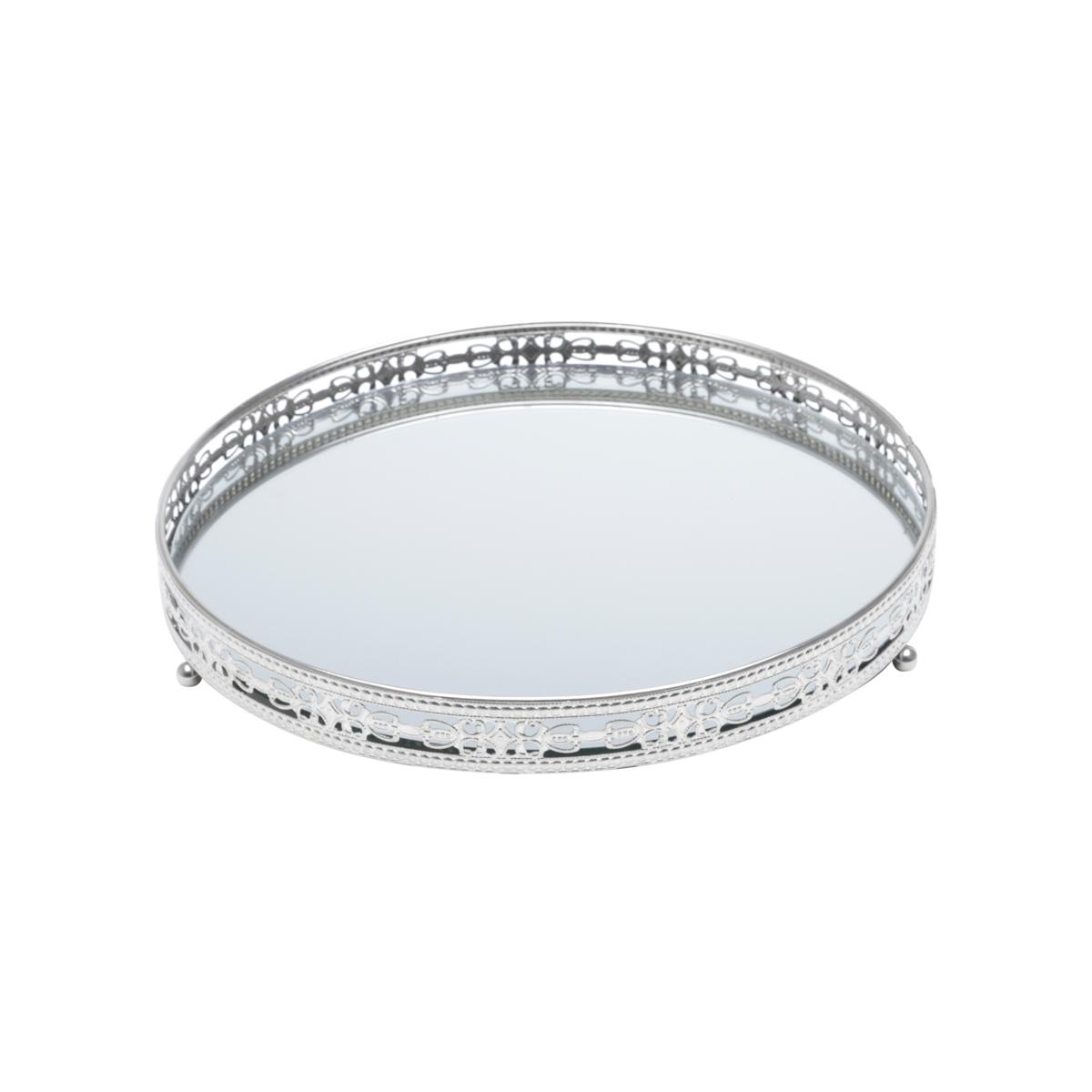 Bandeja ferro c/ espelho Bunch Prata