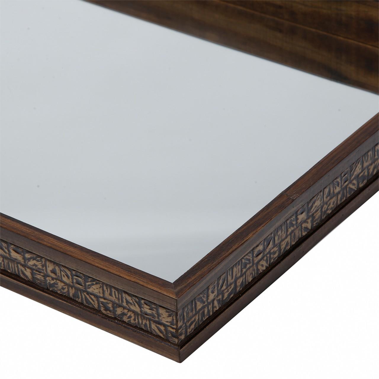 Bandeja madeira c/ espelho Coquinho 51 cm
