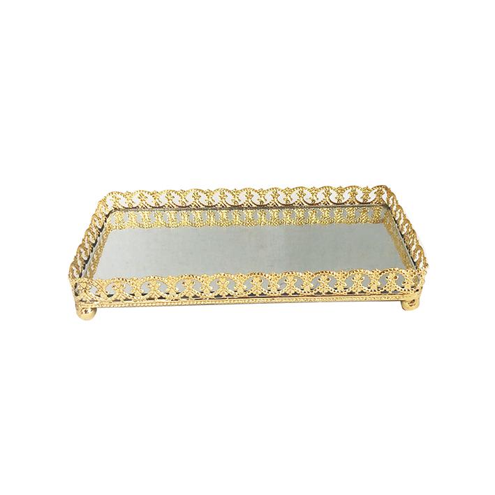 Bandeja Metal c/ Espelho c/ Pé Dourada 20x10,5cm Class Home