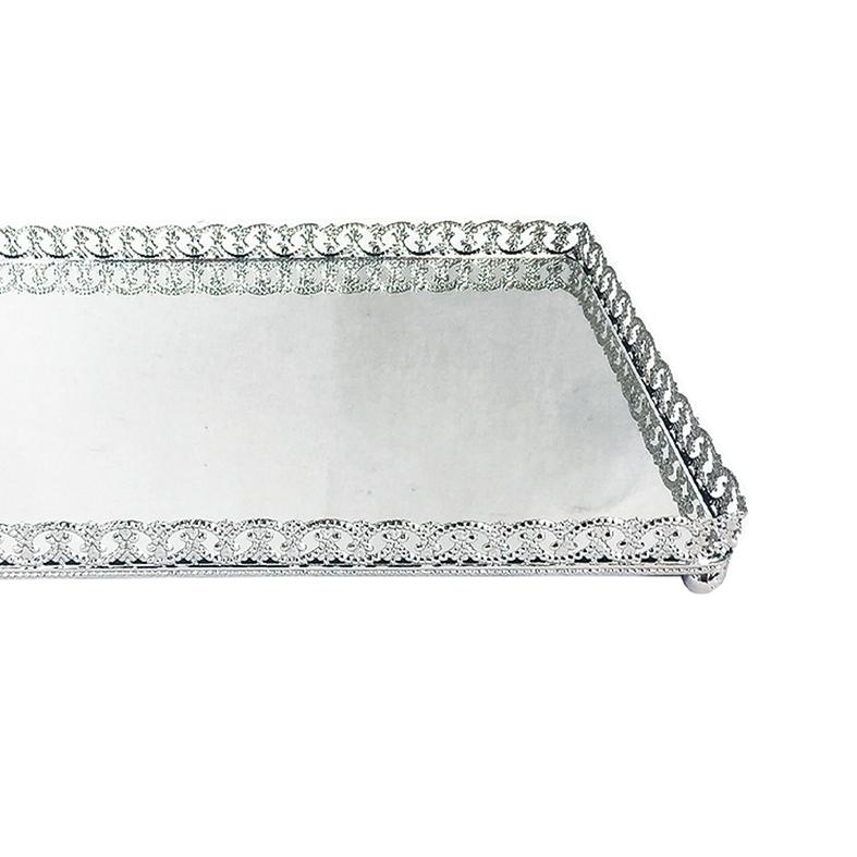 Bandeja Metal c/ Espelho c/ Pé Prata 24x14,5cm Class Home