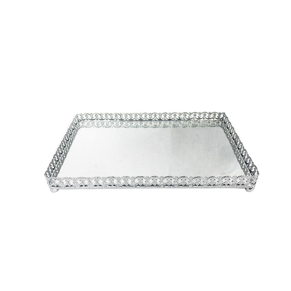 Bandeja Metal c/ Espelho c/ Pé Prata 28x18,5cm Class Home