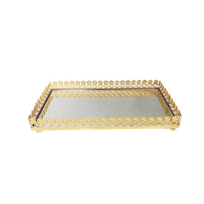 Bandeja Metal c/ Espelho Flor Dourada 24x12cm Class Home