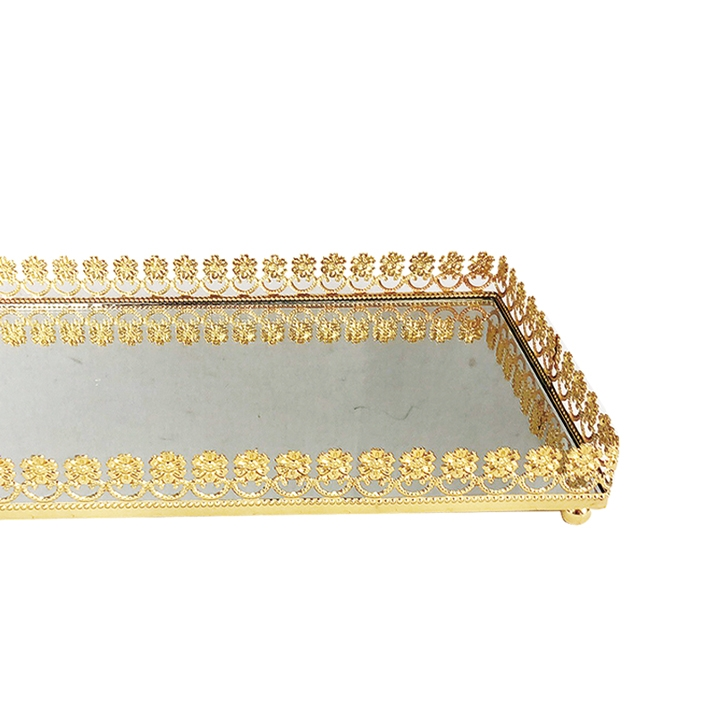 Bandeja Metal c/ Espelho Flor Dourada 32x18,5cm Class Home