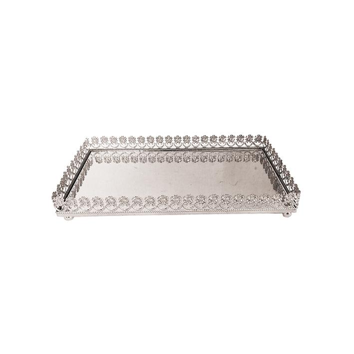 Bandeja Metal c/ Espelho Flor Prata 28x15,5cm Class Home
