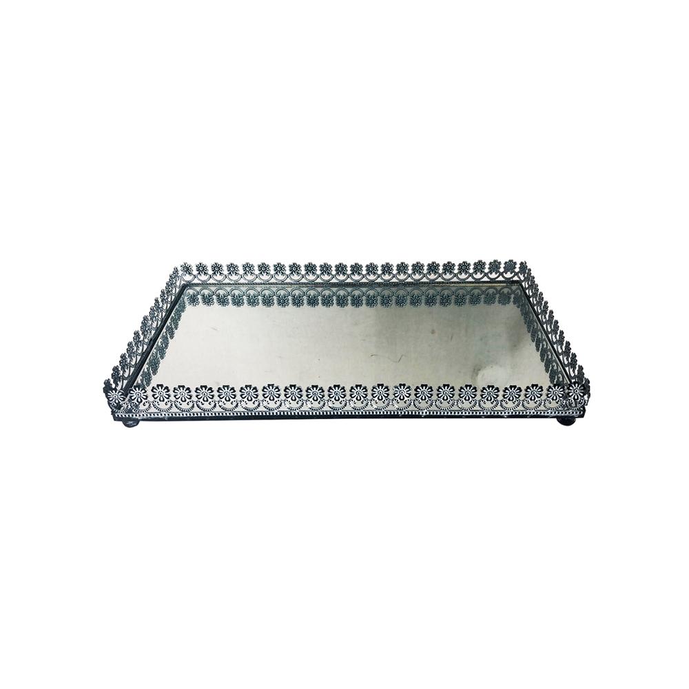 Bandeja Metal c/ Espelho Flor Preta 24x12cm Class Home