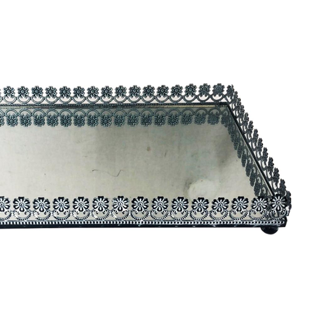 Bandeja Metal c/ Espelho Flor Preta 32x18,5cm Class Home