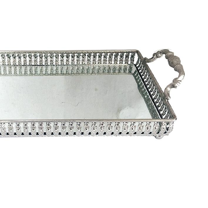 Bandeja Metal c/ Espelho Prata c/ Alça 33x19cm Class Home