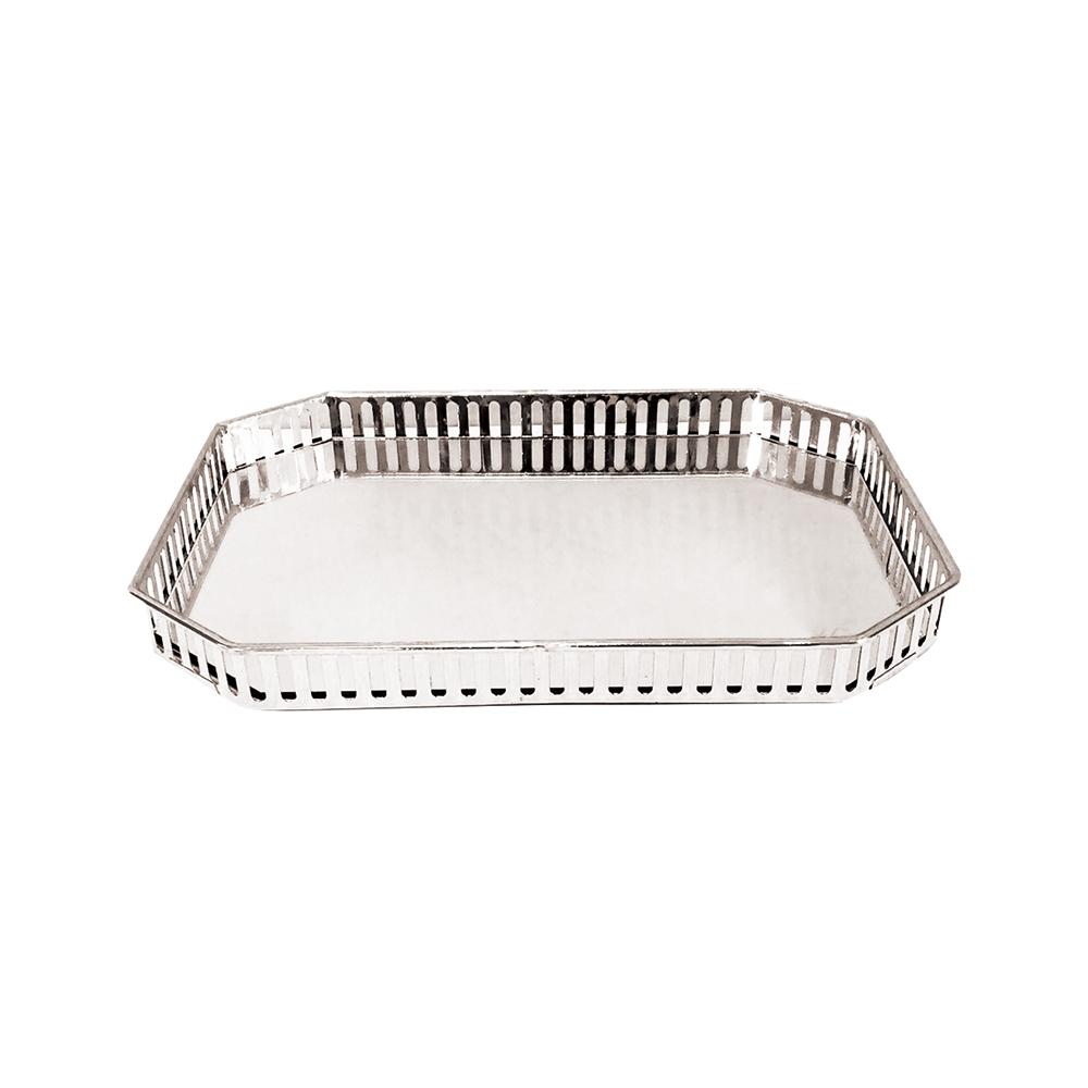 Bandeja Metal c/ Espelho Prateada 29,5x20,5cm Class Home