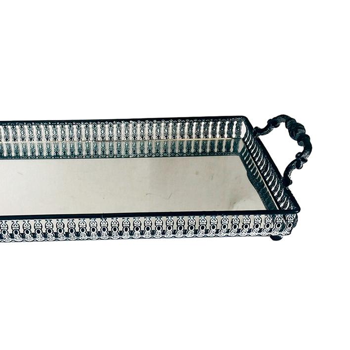 Bandeja Metal c/ Espelho Preta c/ Alça 33x19cm Class Home