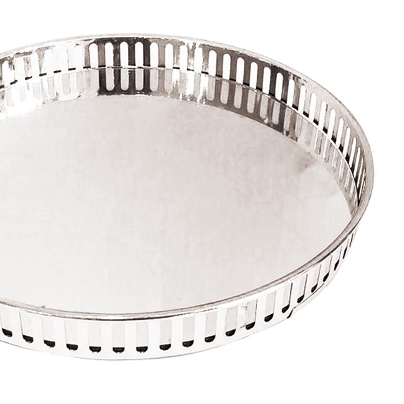 Bandeja Metal c/ Espelho Redonda Prateada 26cm Class Home