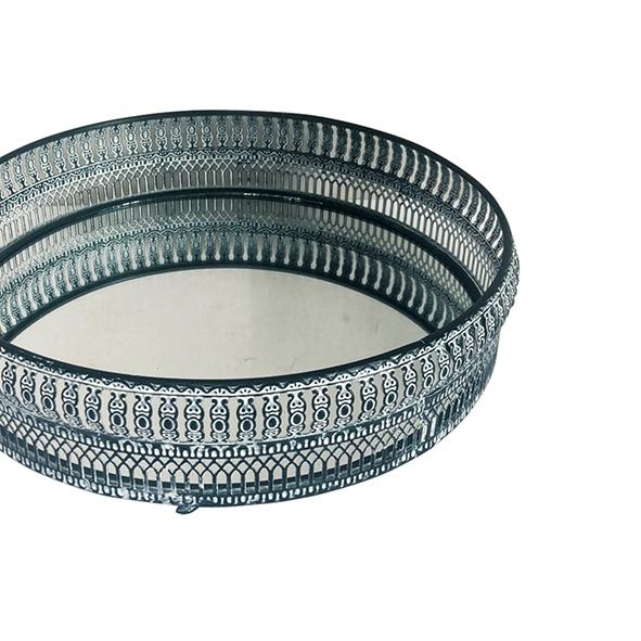 Bandeja Metal c/ Espelho Redonda Preta 28,5cm Class Home