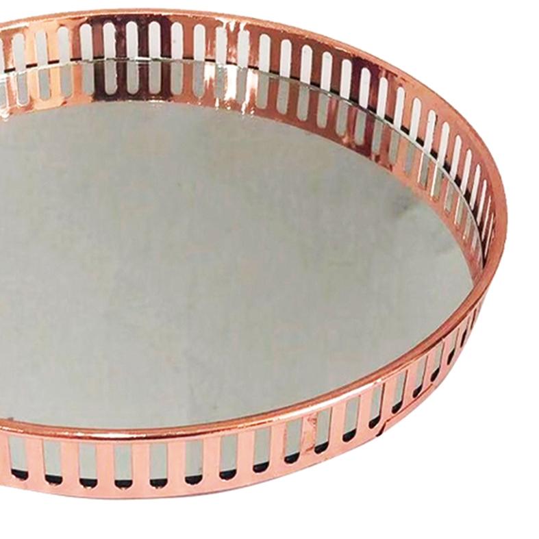 Bandeja Metal c/ Espelho Redonda Rose Gold 26cm Class Home
