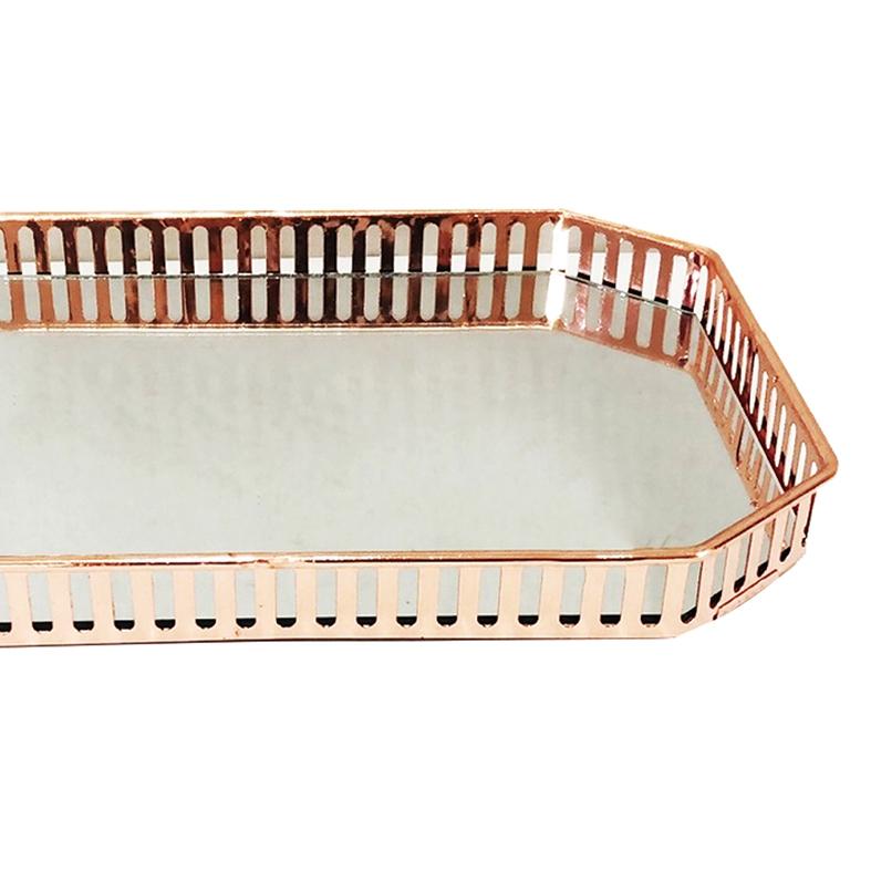 Bandeja Metal c/ Espelho Rose Gold 29,5x20,5cm Class Home