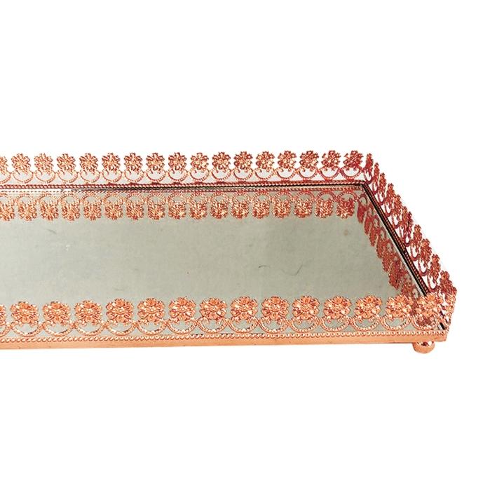 Bandeja Metal Espelho Flor Rose Gold 24x12cm Class Home