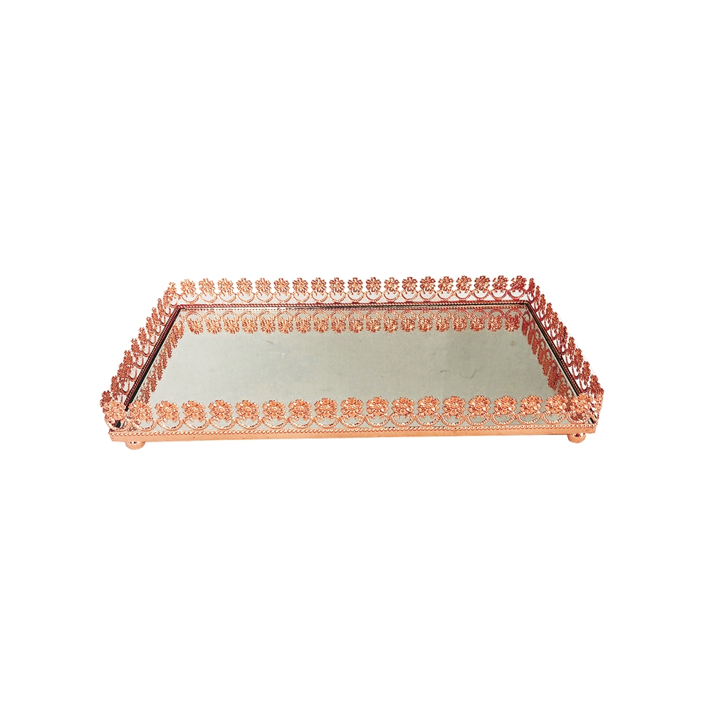 Bandeja Metal Espelho Flor Rose Gold 32x18,5cm Class Home