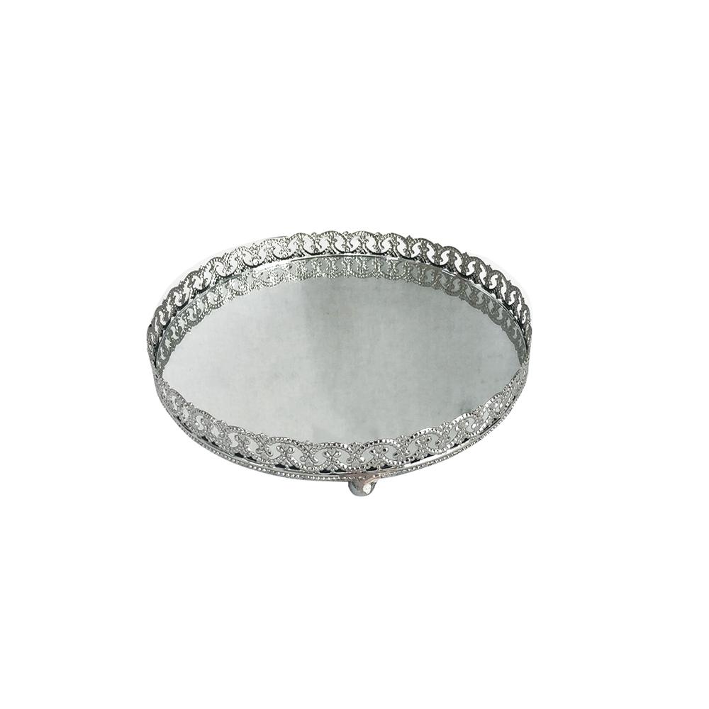 Bandeja Metal Espelho Redonda c/ Pé Prata 22,5cm Class Home