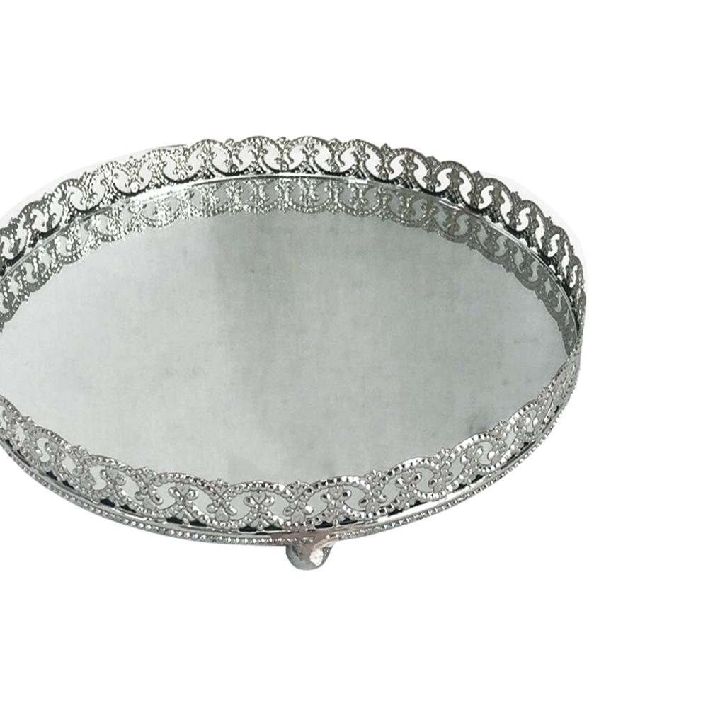 Bandeja Metal Espelho Redonda c/ Pé Prata 26,5cm Class Home